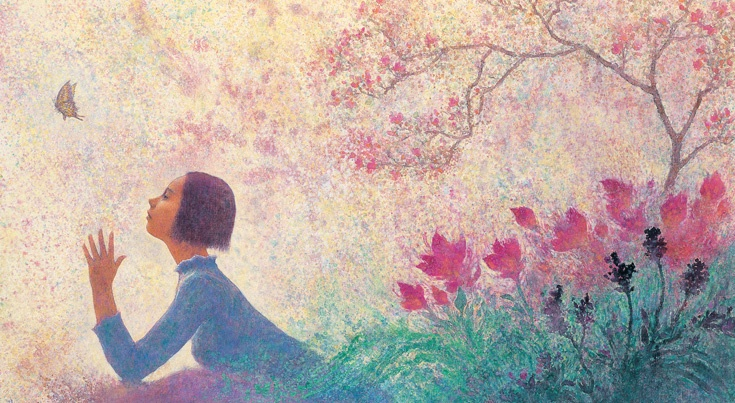 Flower Bushes and the Girl by. Hangryul Park