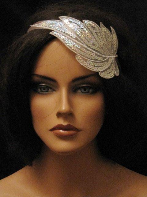 Leaf Headband Silver Or Gold Sequin Bridal Headpiece Art