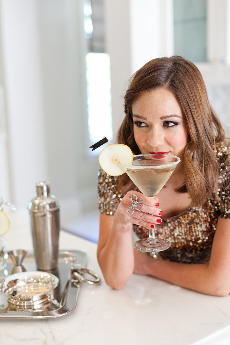 The stunning Leah of Freutcake sipping on a perfect Pear Martini. Recipe here! http://www.stylemepretty.com/2012/12/29/smp-at-home-a-french-pear-cocktail-from-freutcake/ Photography By / http://joannepio.com/,Styling By / http://freutcake.com/