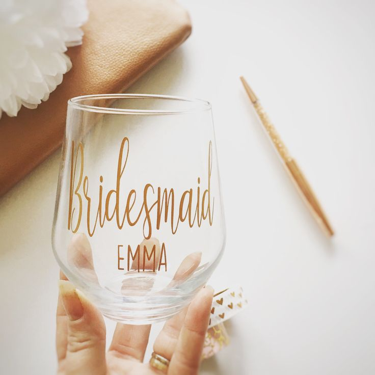 A personal favourite from my Etsy shop https://www.etsy.com/uk/listing/510156099/wedding-glass-bridemaid-glass-wedding