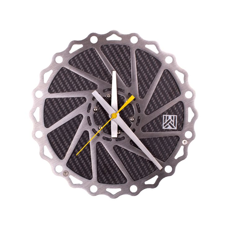 Braketime cycling rotor clock, stainless steel laser-cut rotor with authentic carbon fiber center.Desktop or wall mountable#clock#time#cycling#unique#velo#carbonfiber#design#modern#interiordesign#mancave#bicycle.