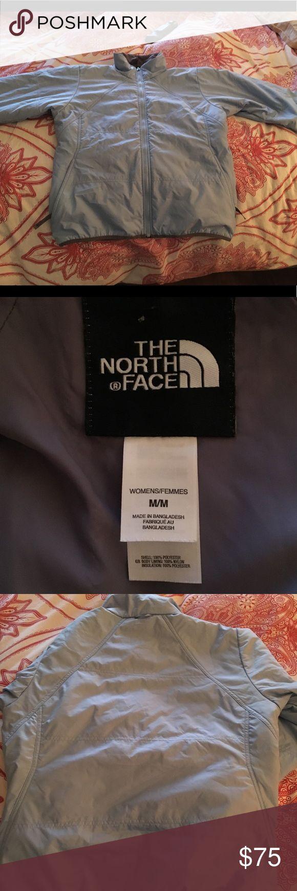 North Face light blue jacket A warm, light weight down North Face jacket. Light blue in color. Size medium. Worn once. North Face Jackets & Coats