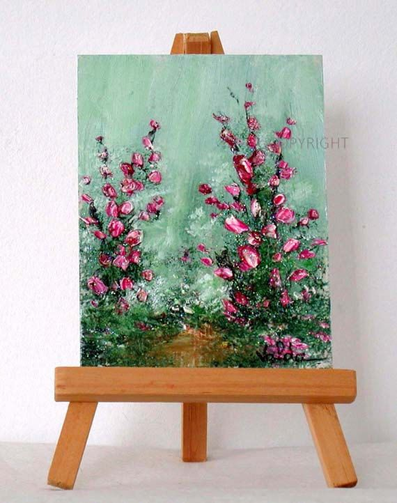 Flowers From My Garden. original miniature painting, 3×4,inches, gift item ,garden scene, impressionism
