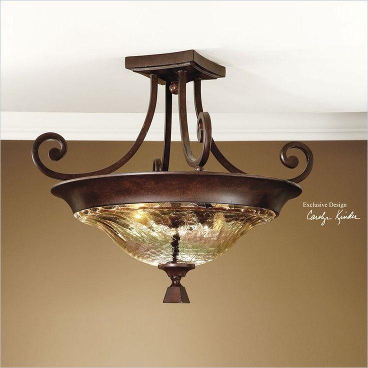 Uttermost elba 2 light glass semi flush mount light in spice 22209 flush mount lightingceiling