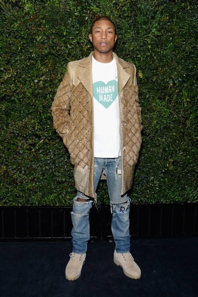 Pharrell Rocks Chanel Coat, Human Made T-Shirt, G-Star Raw Jeans And Timberland Boots