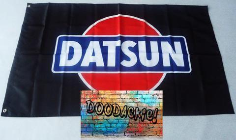Datsun Logo Banner Flag - Black