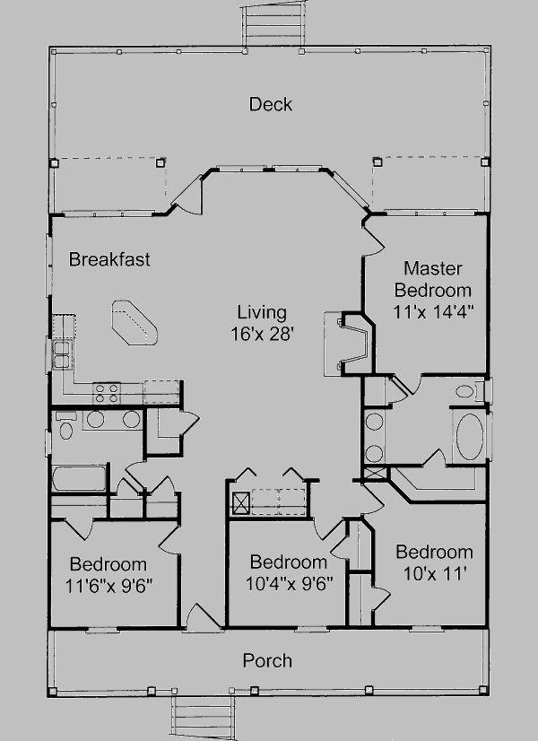 Beach Style House Plan - 4 Beds 2 Baths 1520 Sq/Ft Plan #37-135 Floor Plan - Main Floor Plan - Houseplans.com
