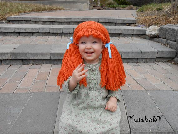 Orange Doll Wig Cabbage Patch Inspired Baby Hat Baby by YumbabY, $34.95