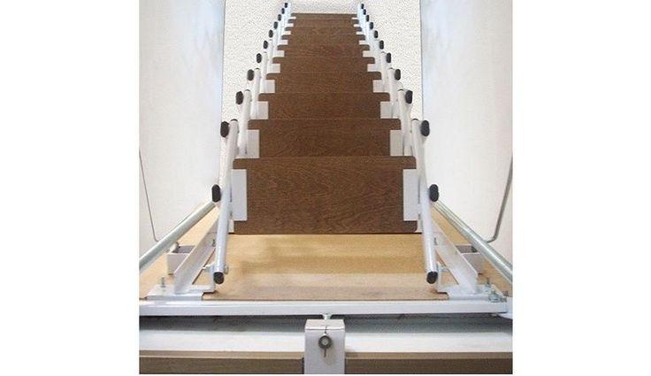 Escaleras Plegables y Escamoteables para techo, tipo tijera, con marco y tapa.