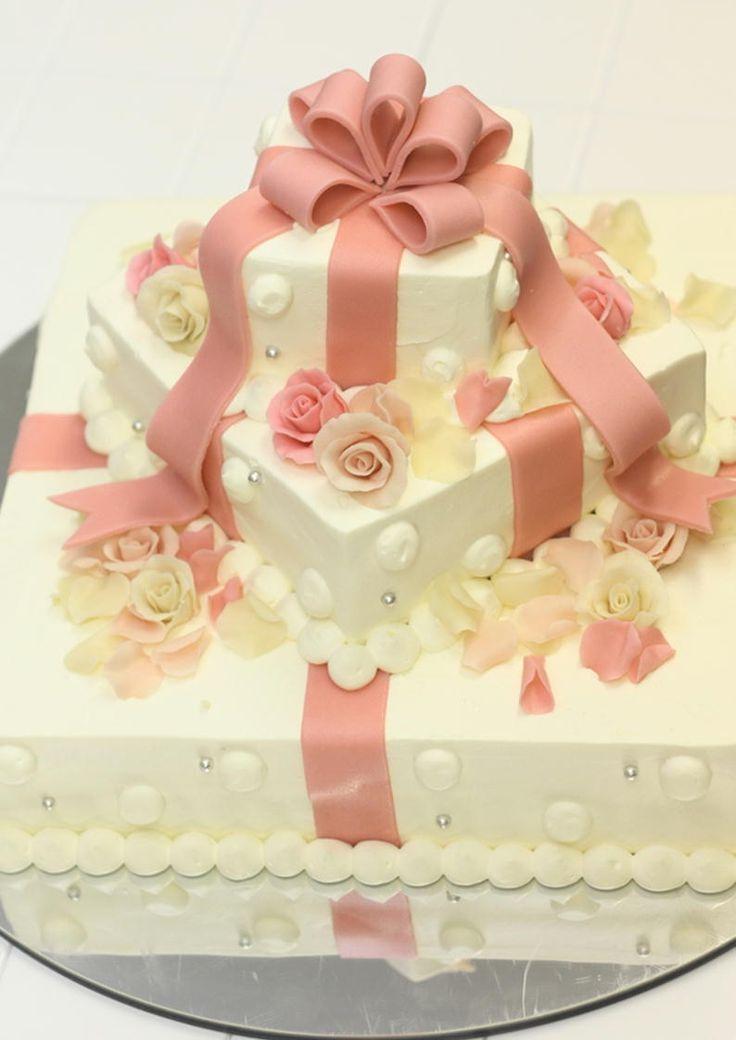 可愛いリボンのウエディングケーキ♪|誕生日ケーキ♪キャラクター ...