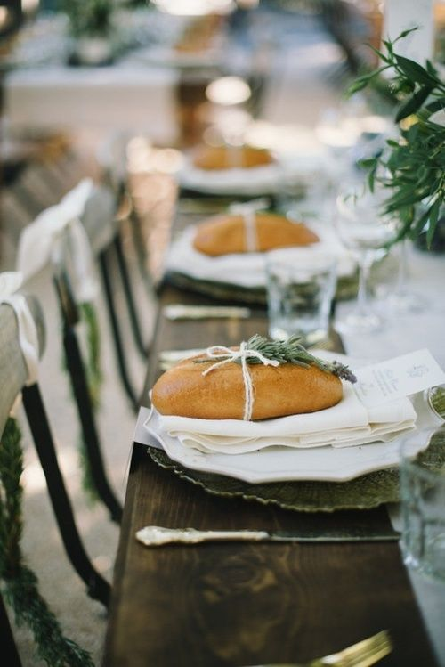 Baguettes wrapped in twine with rosemary at each place setting | Table Setting | Italian Wedding