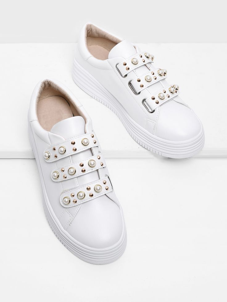 Shop Faux Pearl Velcro PU Sneakers online. SheIn offers Faux Pearl Velcro PU Sneakers & more to fit your fashionable needs.