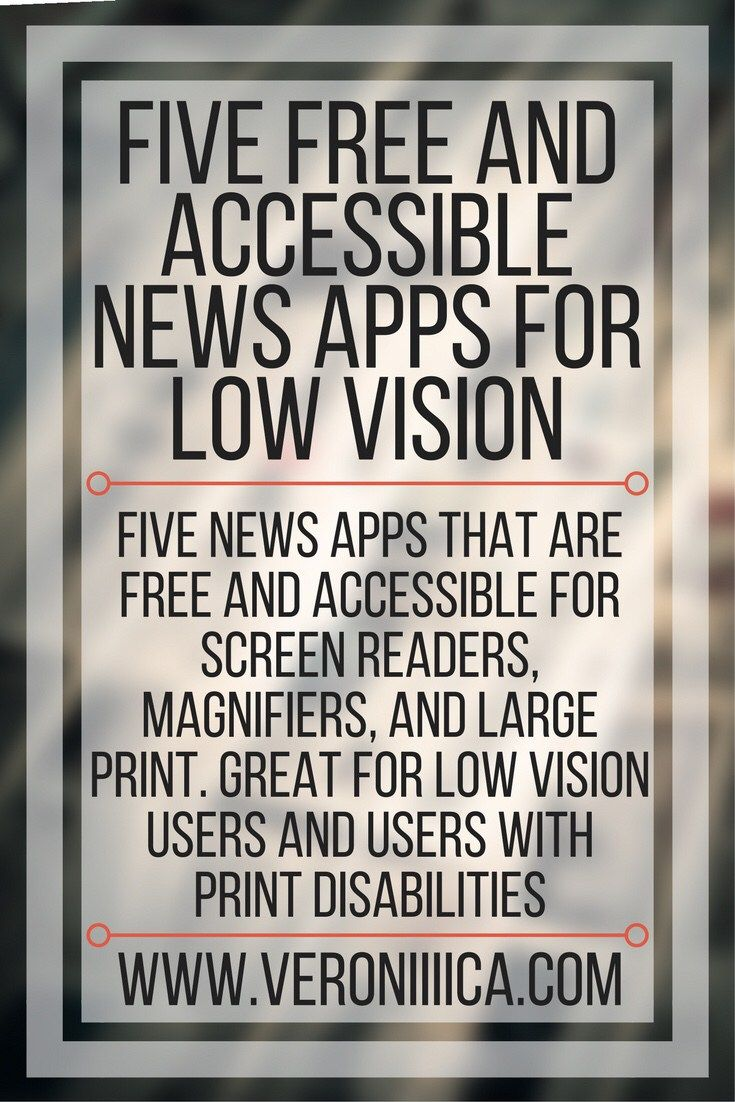 Five free and accessible news apps for low vision users. Five news apps that are free and accessible for screen readers, magnifiers, and large print. Great for low vision users and users with print disabilities. Edtech, students, classroom, inclusion, accessibility, apps, iPad, Android, Amazon Alexa, Apple