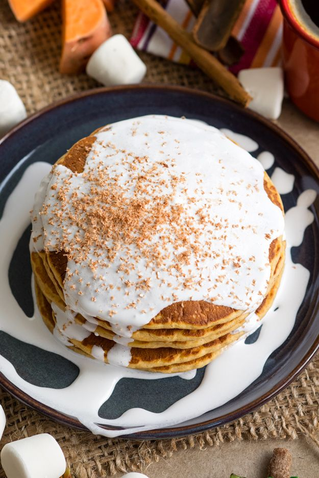 Sweet Potato Pancakes with Marshmallow Sauce for a breakfast treat | The Worktop