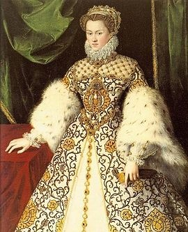 Elisabeth of Austria (5 July 1554 – 22 January 1592) was a German princess, daughter of Holy Roman Emperor Maximilian II, by birth Archduchess of Austria and by marriage Queen of France. The King, Charles IX of France, curious about his future wife, dressed himself as a soldier and went to Sedan to observe her incognito while she was walking in the palace of Sedan's garden with Henry: he was reportedly happy about what he saw.