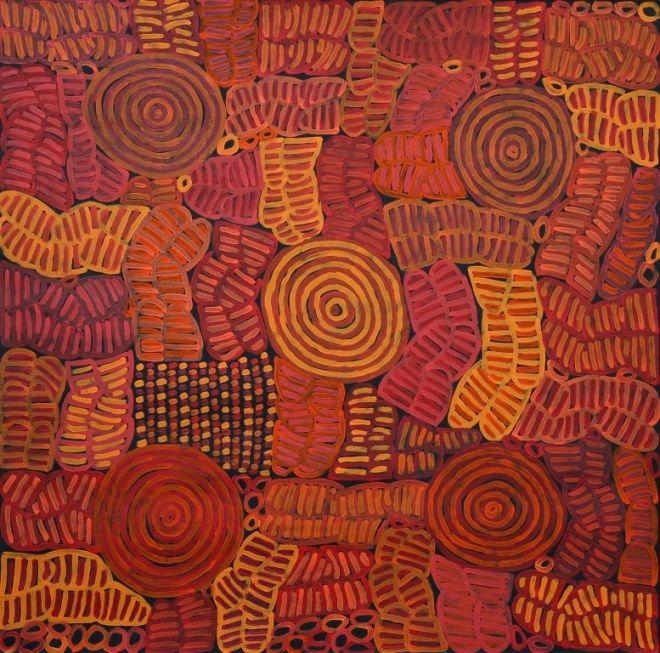 Awelye Body Painting by Betty Mbitjana, 90x90 cm   #AboriginalArt