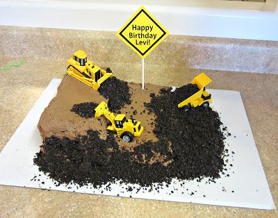 Not as fancy as some cakes but this would be cool for my grandsons... Construction Cake | Love to be in the Kitchen