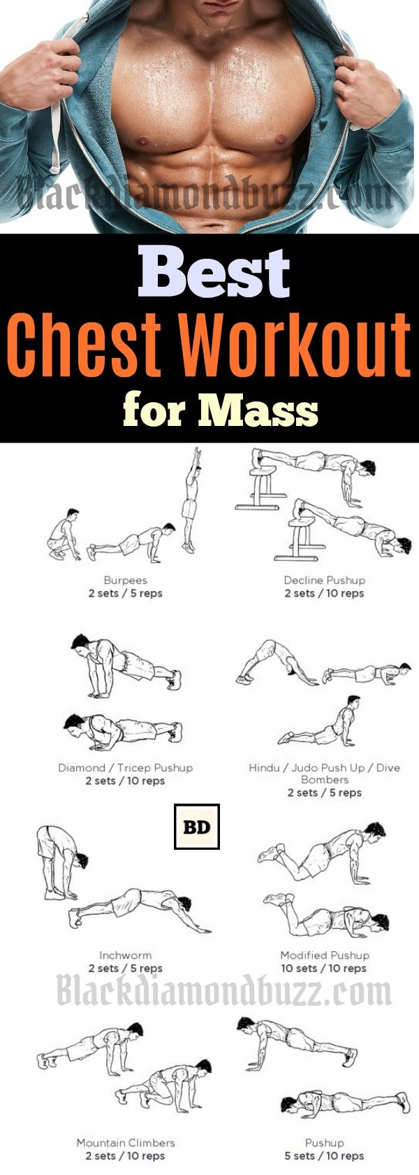"Chest Workout Routine for Mass - 10 Best Chest Workout for Men at Home. These chest exercise it will help you to get a bigger and perky chest.   It is most men's dream to have a powerful looking upper body. It is common to hear questions like, ""how do you increase your chest size"", or how do I build my chest muscles without weights?"""