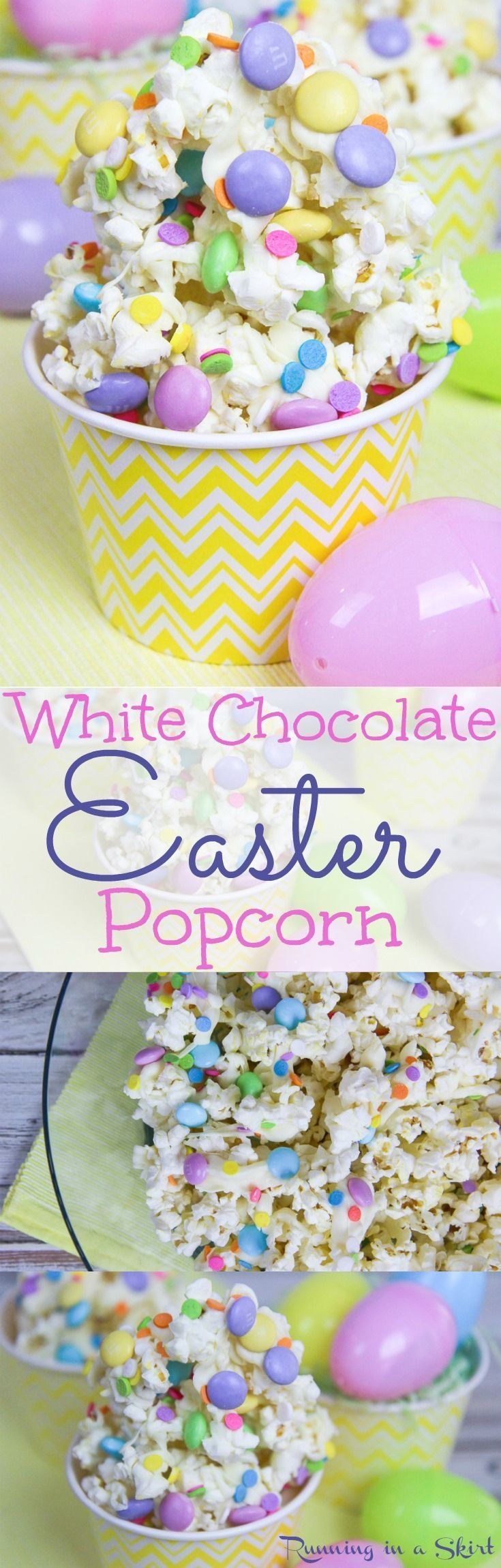 Fun & Festive White Chocolate Easter Popcorn recipe! A simple spring snack for movie night, familiar parties or an edible gift. Uses sweets and candy along with the popcorn. Love the sprinkles! / Running in a Skirt