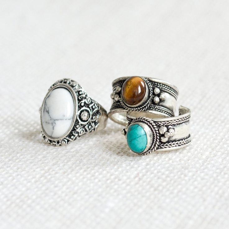 Tibetan Turquoise Jewel Bohemian Trinket Ring – Tigers Eye – Boho Cuff-Classic Silver Amulet Jewelry-Thumb Rings -Gemstone Opal-Adjustable