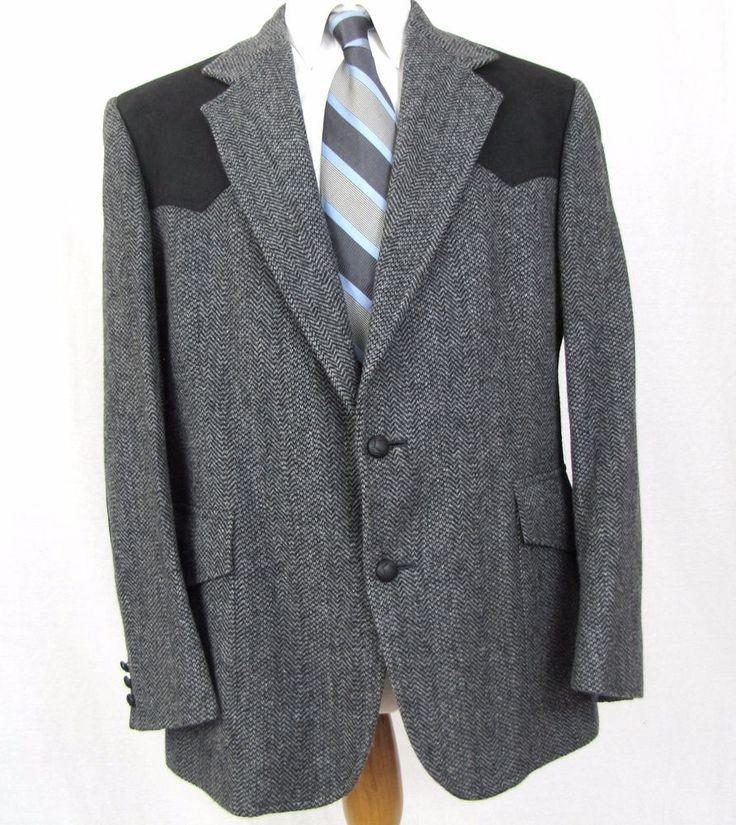Pendleton Western Blazer 44R 100 Wool Suede Elbow Patch