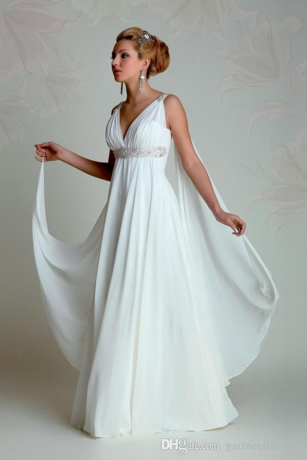 Greek Goddess Wedding Dresses 2015 V Neck Empire A Line Full Length Beading White Chiffon Summer Beach Bridal Gowns With Watteau Train