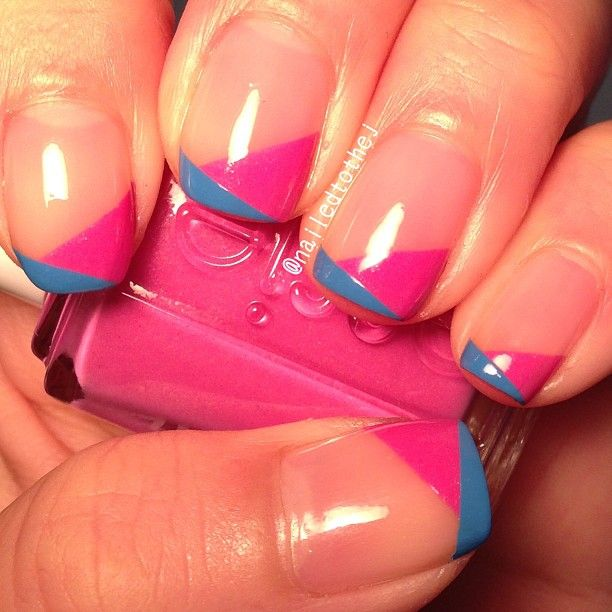 Funky french tips nail art design in Essie Sugar Daddy, Madison ave-hue, and avenue maintain.