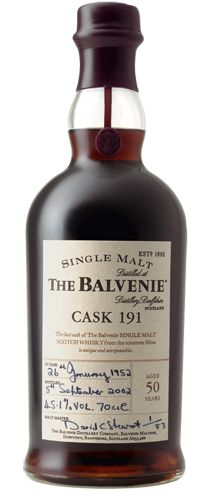 Balvenie Cask 191, Single Malt, Aged 50 years. I can't even imagine how this stuff taste. Just look at it! Must be super rich with a finish that last all night.