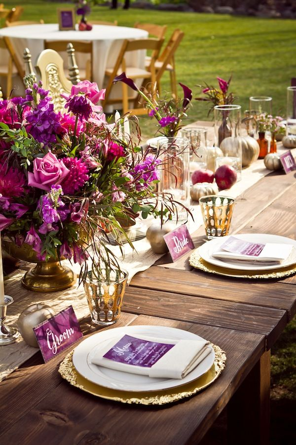 Purple And Gold Dress Up A Table In The Most Beautiful Way