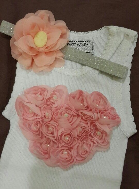 Vintage Pearls Heart Tank Top with matching Chiffon Headband