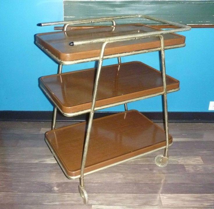 Vintage Mid Century Modern Atomic Cosco 3 Tier Utility Bar Tea Cart Trolley & 194 best Step Stools u0026 Kitchen Carts images on Pinterest | Kitchen ... islam-shia.org