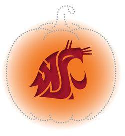 Pumpkin-carving stencils of the WSU Cougar head logo - WSU News Washington State University