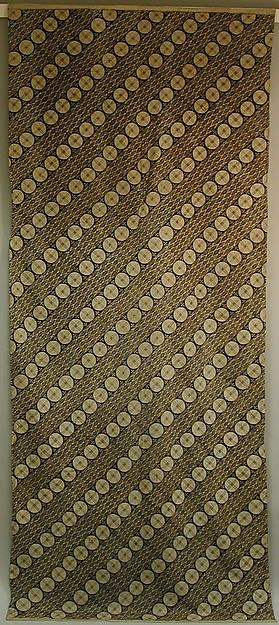 Shoulder Cloth | Javanese Batik | Cotton | Dated mid 19th - early 20th century A.D. | Diagonal rows with circle motif | Found in the New York Metropolitan Museum | http://www.metmuseum.org/art/collection/search/307893?rpp=20&pg=1676&ft=Textile&pos=33520