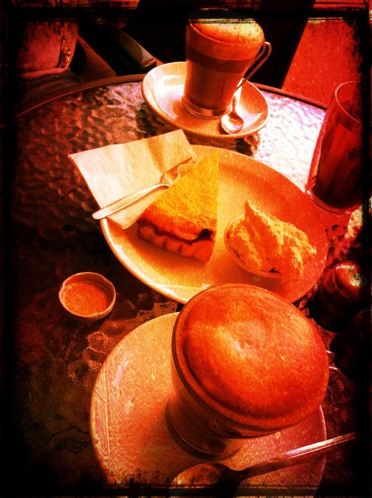 at eumundi beautiful coffee and gluten free tart...