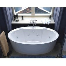 "Salina 67.18"" x 33.43"" Oval Freestanding Whirlpool Jetted Bathtub with Center Drain"