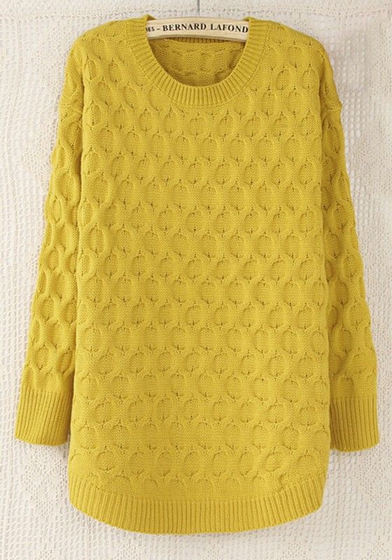 yellow plain round neck straight wool blend sweater