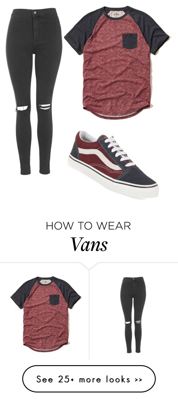 """basic tee w. vans"" by rileygonzalesbaby on Polyvore featuring moda, Hollister Co., Topshop y Vans"