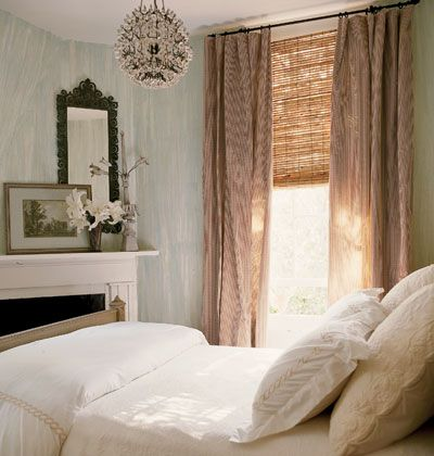 Guest Suite - love the sparkling pendant light... romantic; like the layered look of textured bamboo blinds and linen drapes