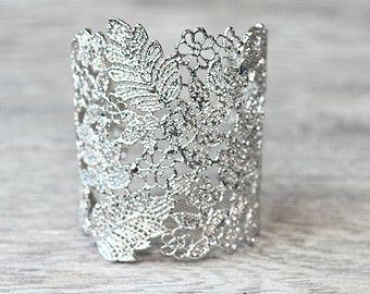 Rose Gold Lace Bridal Cuff Bracelet  Lace Floral by EdenLuxeBridal