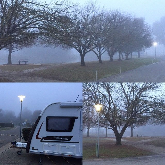 A cool & foggy start to the day at 3 degrees Celsius. Refreshing, but it's nice & warm in our Elddis. #caravan #elddis #australia