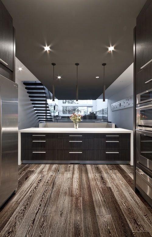 Modern kitchen idea. Loving that warm grey.
