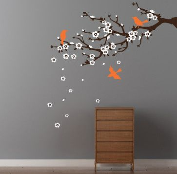 Cherry Blossom Branch Wall Decal - contemporary - Wall Decals - Cherry Walls