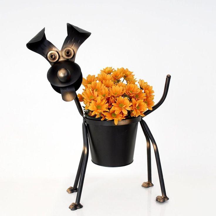 Dog planter metal garden ornament animal planters/pots in Garden & Patio, Garden Ornaments, Statues & Lawn Ornaments | eBay