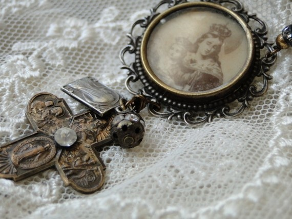 Repurposed Assemblage Mary Queen of Heaven & Baby Jesus Pendant by renewedheirlooms @ Etsy #altered jewelry, #vintage inspired
