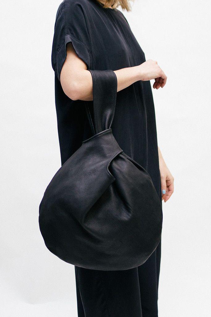 Black leather handbag, chic minimalist bag // Elizabeth Suzann... love the dress too