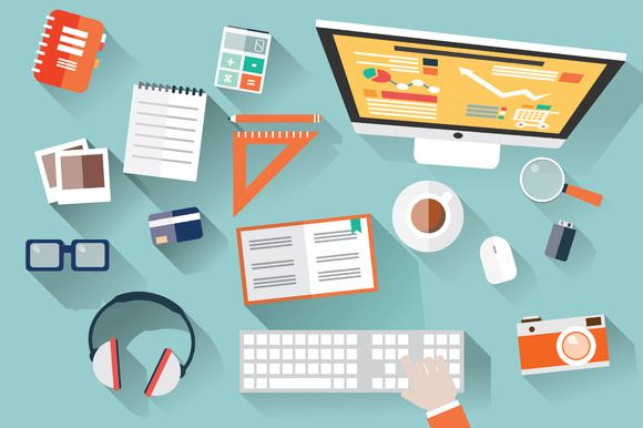 Check out Flat Design Office Desk by Blue Lela Illustrations on Creative Market