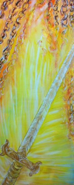 Prophetic Painting Sword of the Spirit breaking chains, by Andrea Riley