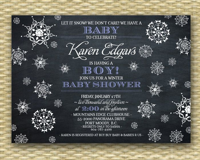 When To Register For Baby Shower Part - 48: Baby Shower Invitation Chalkboard Snowflake By SunshinePrintables, $18.00