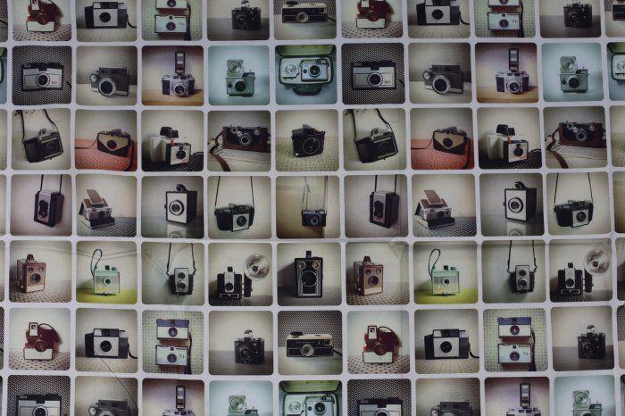 Tkanina dekoracyjna z ze zdjęciem starych aparatów 1067/052
