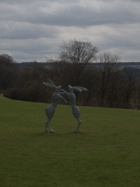 Boxing hares sculpture